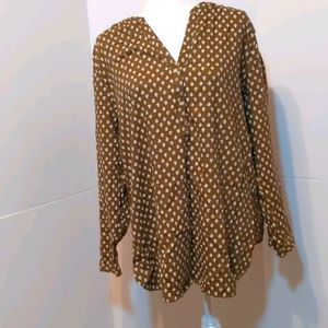 Old Navy Women's Brown/Gold Tunic Top XL